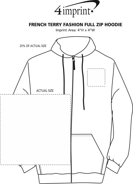 Imprint Area of French Terry Fashion Full-Zip Hoodie