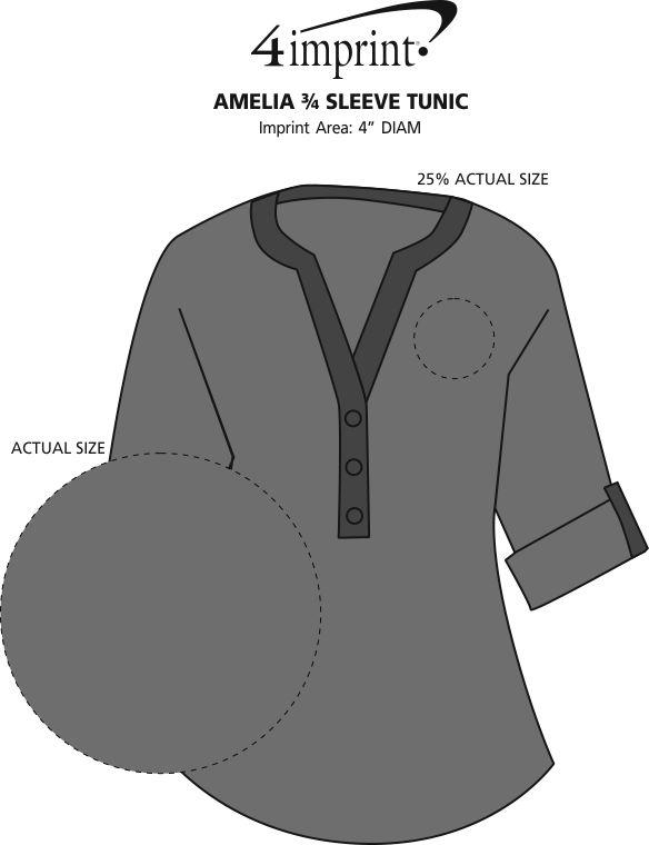 Imprint Area of Amelia 3/4 Sleeve Tunic