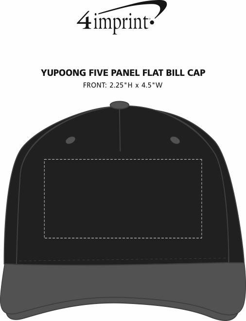 Imprint Area of Yupoong Five Panel Flat Bill Cap