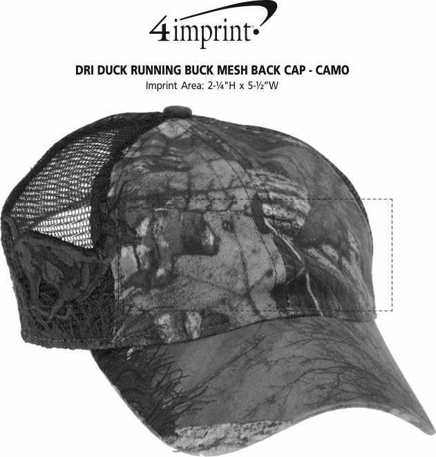 Imprint Area of DRI DUCK Running Buck Mesh Back Cap