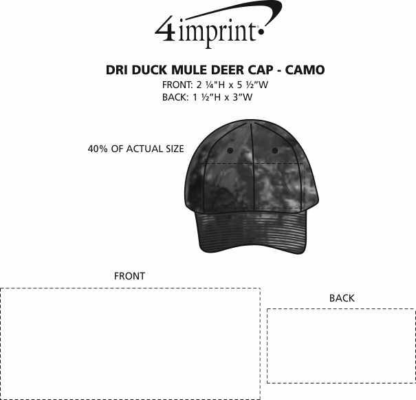 Imprint Area of DRI DUCK Mule Deer Cap - Camo