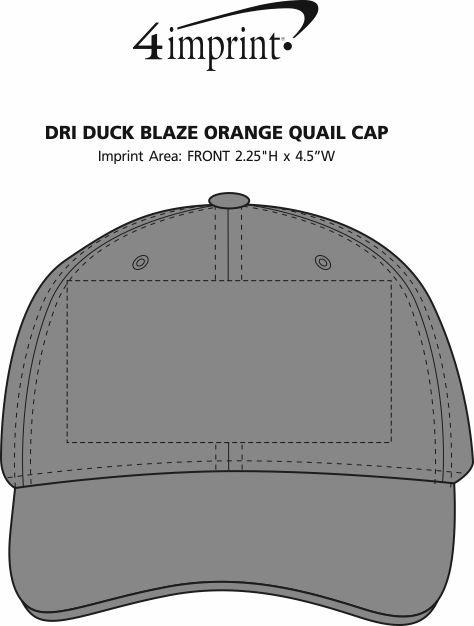 Imprint Area of DRI DUCK Blaze Orange Quail Cap