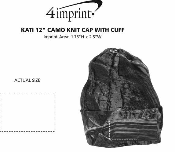"Imprint Area of Kati 12"" Camo Knit Cap with Cuff"