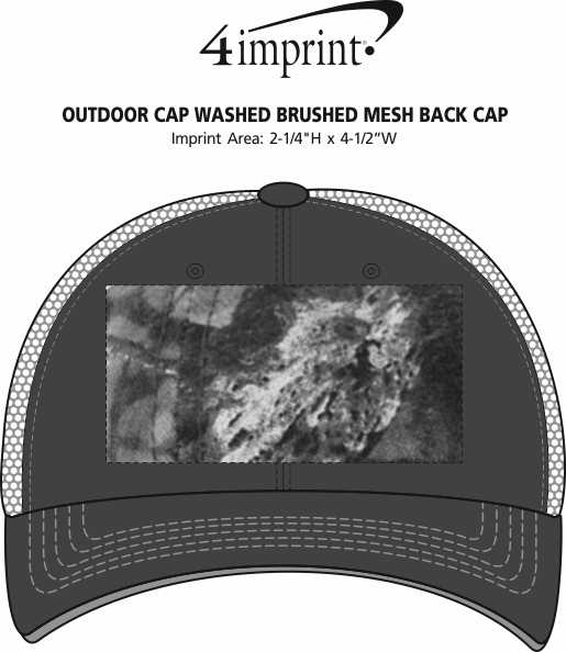 Imprint Area of Outdoor Cap Washed Brushed Mesh Back Cap