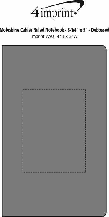 """Imprint Area of Moleskine Cahier Ruled Notebook - 8-1/4"""" x 5"""" - Debossed"""