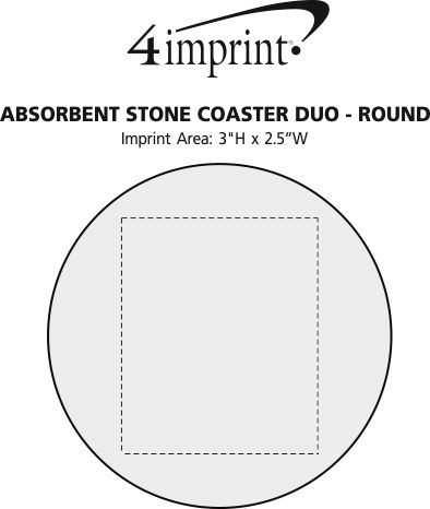 Imprint Area of Absorbent Stone Coaster Duo - Round