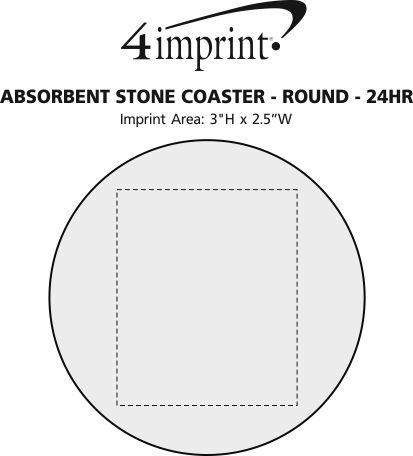 Imprint Area of Absorbent Stone Coaster - Round - 24 hr