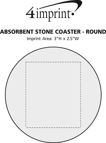 Imprint Area of Absorbent Stone Coaster - Round