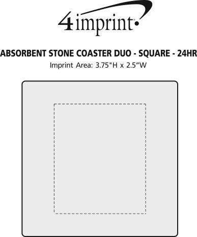 Imprint Area of Absorbent Stone Coaster Duo - Square - 24 hr