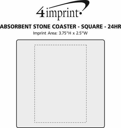 Imprint Area of Absorbent Stone Coaster - Square - 24 hr