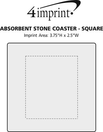 Imprint Area of Absorbent Stone Coaster - Square