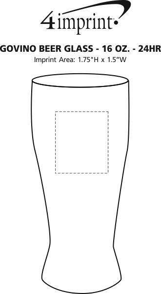 Imprint Area of govino® Shatterproof Beer Glass - 16 oz. - 24 hr