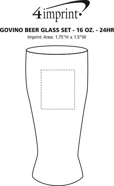 Imprint Area of govino® Shatterproof Beer Glass Set - 16 oz. - 24 hr