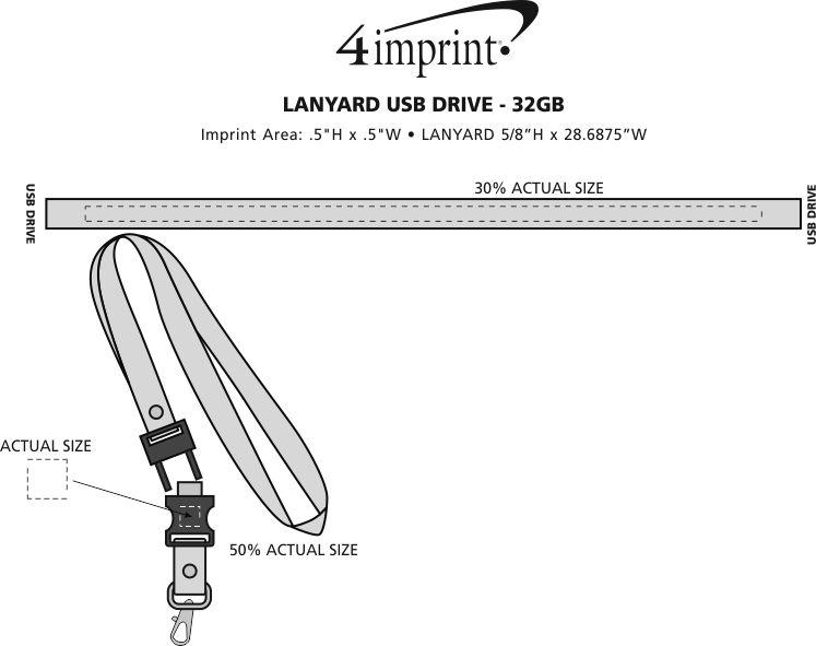 Imprint Area of Lanyard USB Drive - 32GB