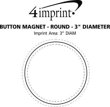 "Imprint Area of Button Magnet - Round - 3"" Diameter"