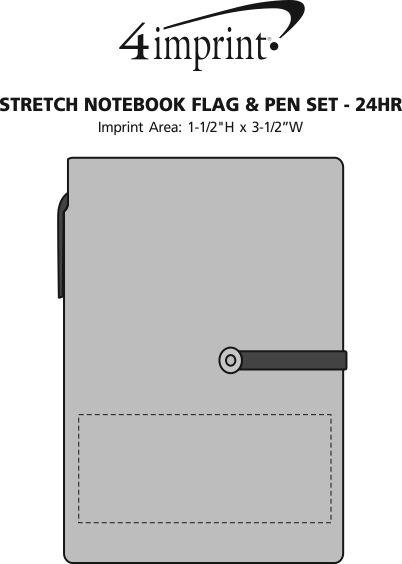 Imprint Area of Stretch Notebook Flag & Pen Set - 24 hr