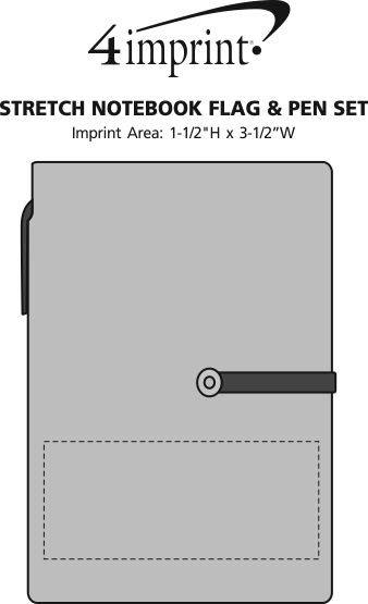 Imprint Area of Stretch Notebook Flag & Pen Set