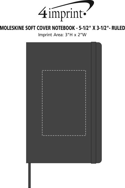 "Imprint Area of Moleskine Soft Cover Notebook - 5-1/2"" x 3-1/2"" - Ruled"