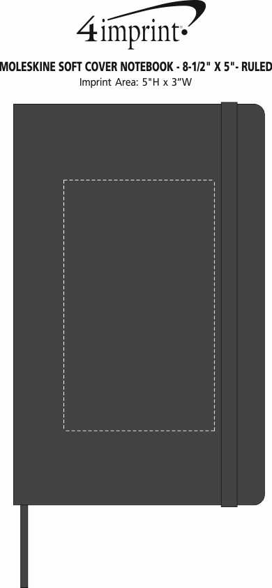 """Imprint Area of Moleskine Soft Cover Notebook - 8-1/4"""" x 5"""" - Ruled"""