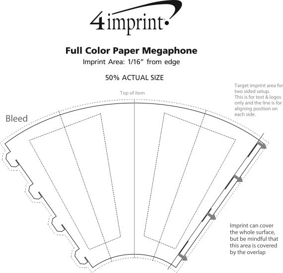 Imprint Area of Full Color Paper Megaphone