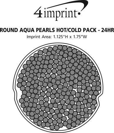 Imprint Area of Round Aqua Pearls Hot/Cold Pack - 24 hr