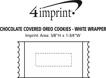 Imprint Area of Chocolate Covered Sandwich Cookie - White Wrapper