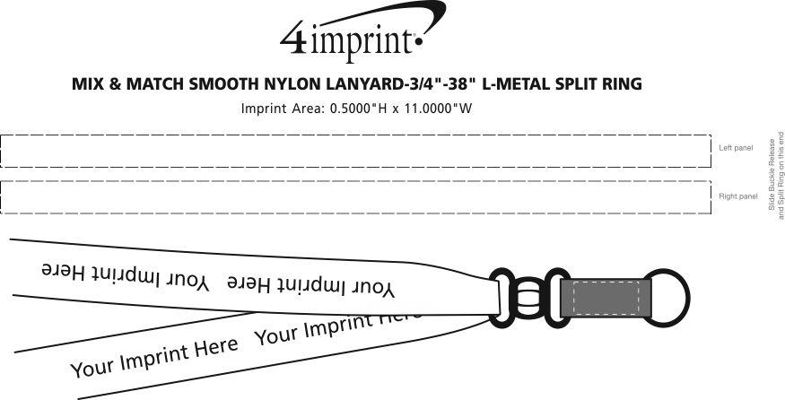 "Imprint Area of Mix and Match Smooth Nylon Lanyard - 3/4"" - 38"" - Metal Split Ring"