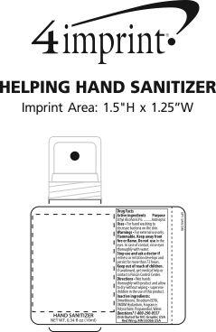 Imprint Area of Helping Hand Sanitizer - 0.34 fl oz.