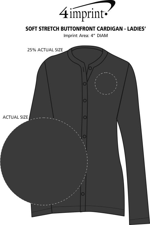 Imprint Area of Soft Stretch Buttonfront Cardigan - Ladies'