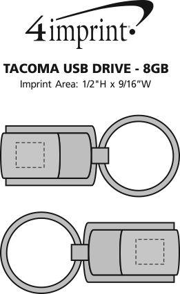 Imprint Area of Tacoma USB Drive - 8GB