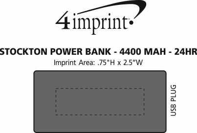 Imprint Area of Stockton Power Bank - 24 hr