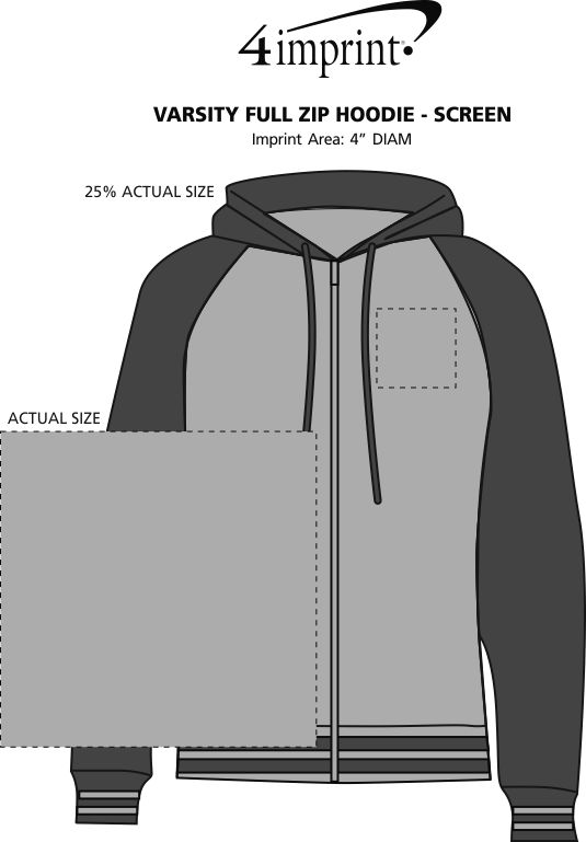 Imprint Area of Independent Trading Co. Varsity Full-Zip Hoodie - Screen