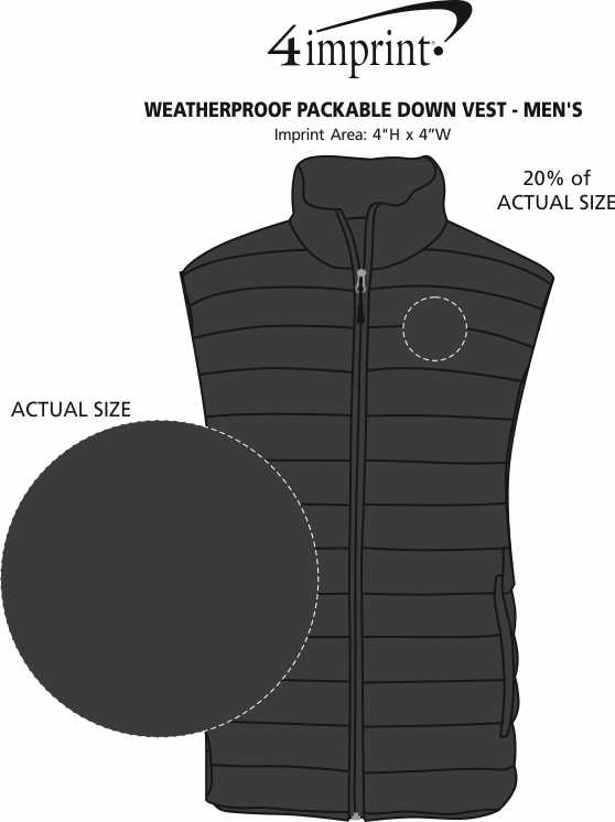 Imprint Area of Weatherproof Packable Down Vest - Men's