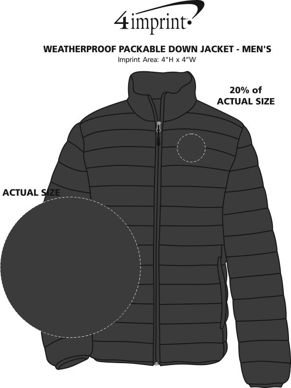 Imprint Area of Weatherproof Packable Down Jacket - Men's