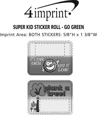 Imprint Area of Super Kid Sticker Roll - Go Green