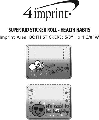 Imprint Area of Super Kid Sticker Roll - Healthy Habits