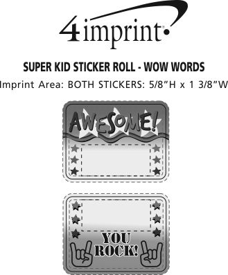 Imprint Area of Super Kid Sticker Roll - Wow Words