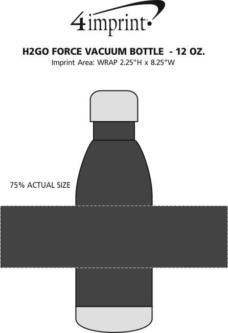 Imprint Area of h2go Force Vacuum Bottle  - 12 oz.