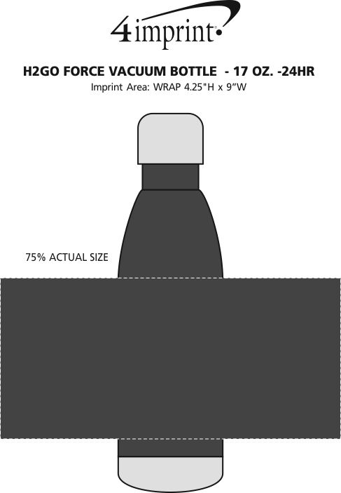 Imprint Area of h2go Force Vacuum Bottle  - 26 oz. - 24 hr