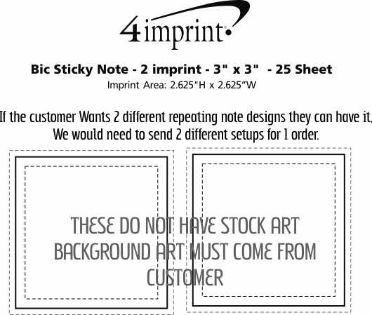 """Imprint Area of Bic Sticky Note - 2 imprint - 3"""" x 3"""" - 25 Sheet"""