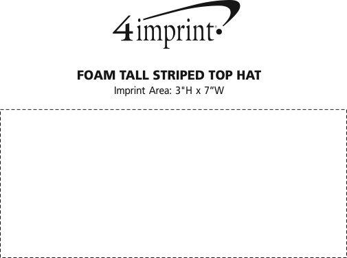 Imprint Area of Foam Tall Striped Top Hat
