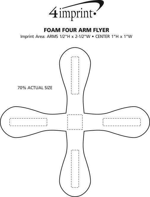 Imprint Area of Foam Four Arm Flyer