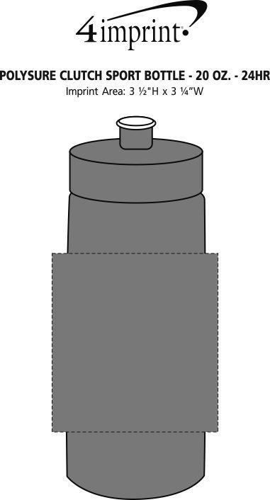 Imprint Area of Refresh Clutch Water Bottle - 20 oz. - 24 hr