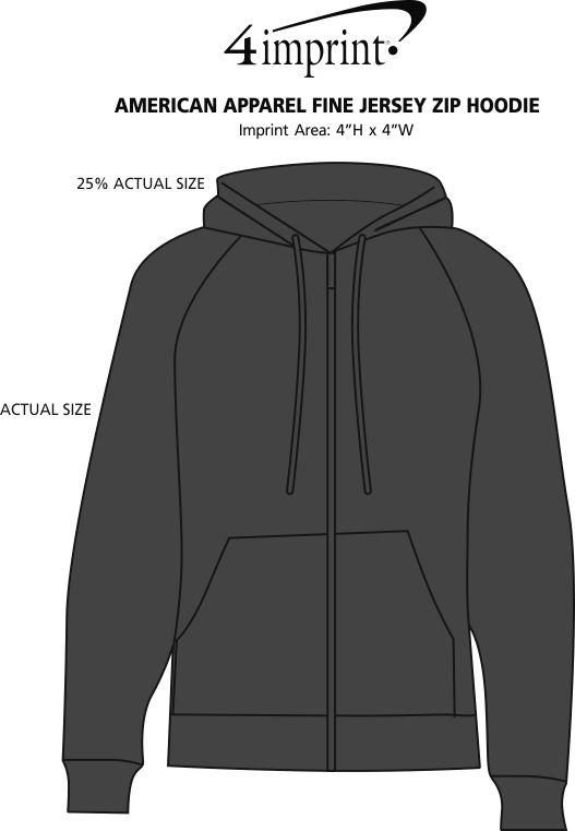 Imprint Area of American Apparel Fine Jersey Zip Hoodie