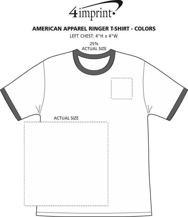 Imprint Area of American Apparel Ringer Blend T-Shirt - Colors