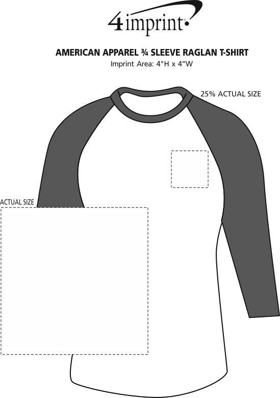 Imprint Area of American Apparel 3/4 Sleeve Raglan T-Shirt