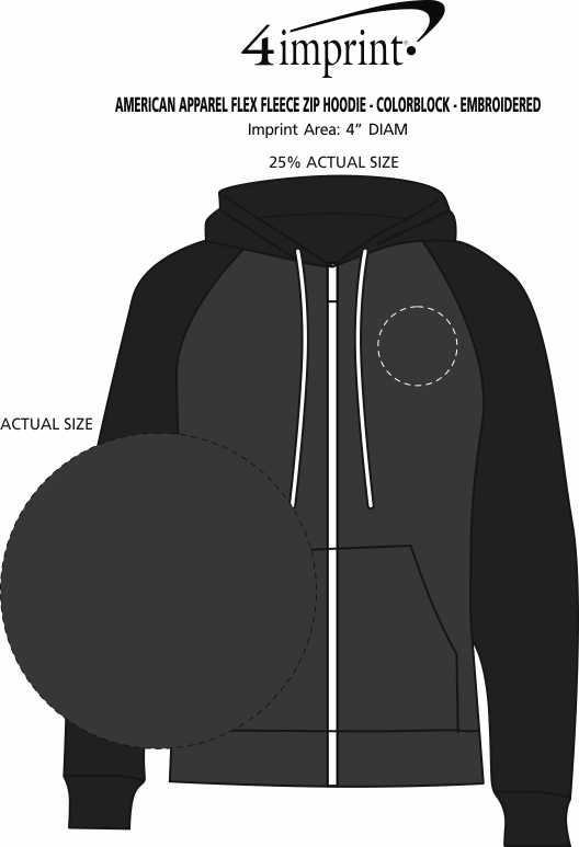 Imprint Area of American Apparel Flex Fleece Zip Hoodie - Colorblock - Embroidered