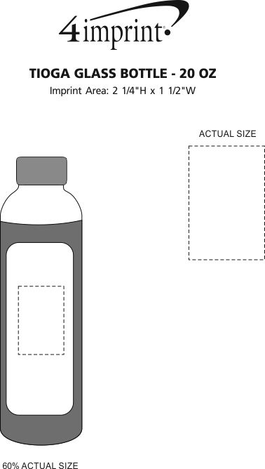 Imprint Area of Tioga Glass Bottle - 20 oz.