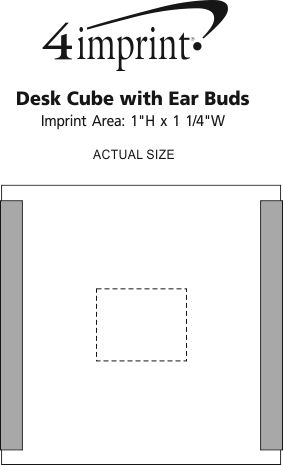 Imprint Area of Desk Cube with Ear Buds