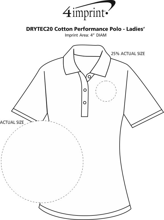 Imprint Area of DryTec20 Cotton Performance Polo - Ladies'